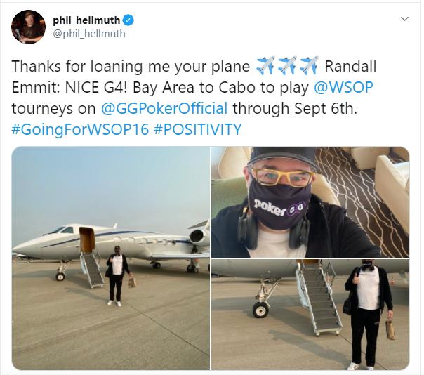 Фил выразил благодарность человеку по имени Эммит, который предоставил ему свой частный самолет.